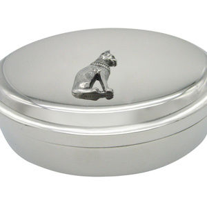 Silver Toned Egyption Cat Oval Trinket Jewelry Box